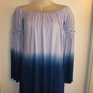 Sky NWT Off Shoulder Ombre Mini Dress Blue Braided
